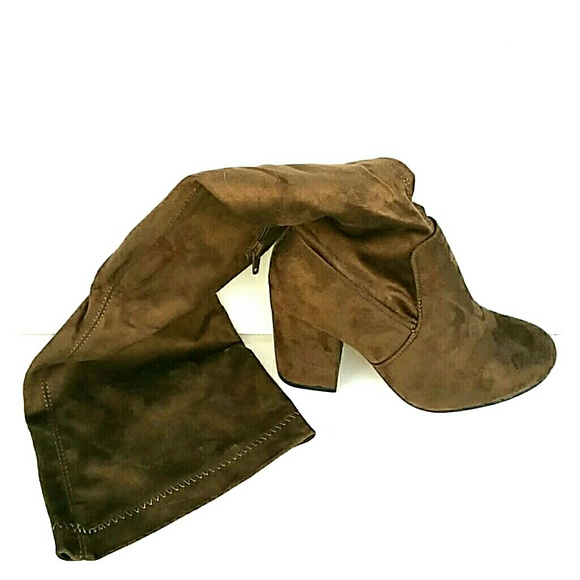 448ea0a9c73d Lilly block heel over the knee boot. Boutique. Boohoo